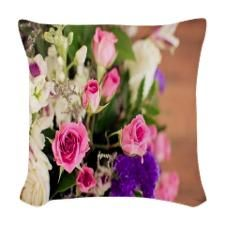 Pink Roses Woven Throw Pillow
