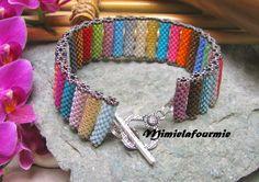 Défi de Juillet - Les Vacances en couleurs - Bracelet Tubes Multicolore - Perle Miyuki - Tissage peyote