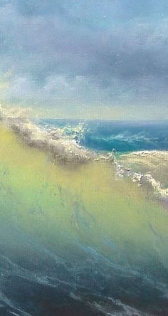 Transparency within the waves is present as the wave laps Vladimir Mesheryakov ~ Stormy Surf Ocean Art, Ocean Waves, Landscape Art, Landscape Paintings, Wave Art, Seascape Paintings, Pastel Paintings, Beach Art, Watercolor Art