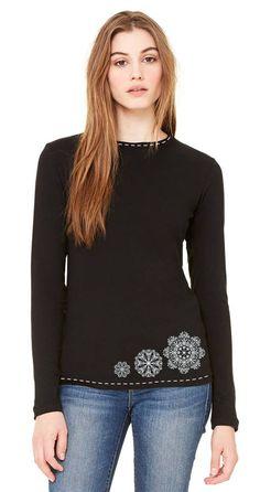 Tričká - Dámske tričko dlhý rukáv priliehavý strih ručne obšívané SNEHOVÉ - 5136119_