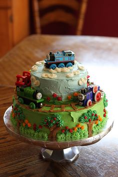 Thomas Cake by lorijohernandez Thomas Train Birthday Cake, Thomas Birthday Parties, Trains Birthday Party, 2nd Birthday, Train Party, Birthday Ideas, Thomas Cakes, Thomas The Train Cakes, Cakes For Boys