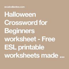 Halloween Crossword for Beginners worksheet - Free ESL printable worksheets made by teachers