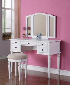 Poundex White 5-Drawer Vanity Set with Mirror and Stool F4074
