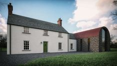 Located in the rural countryside this traditional vs contemporary dwelling demands attention along its long laneway. Barn Renovation, Farmhouse Renovation, Cottage Exterior, Modern Farmhouse Exterior, Barn Conversion Exterior, House Designs Ireland, House Cladding, Ireland Homes, House Ireland