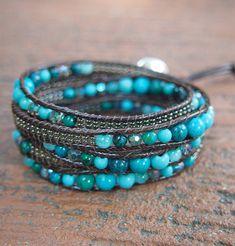 Turquoise howlite mix Wrap bracelet on brown cord, Boho Wrap Bracelet, Beadwork bracelet Wrap Bracelet Tutorial, Beaded Bracelets, Wrap Bracelets, Leather Bracelets, Leather Jewelry, Leather Cord, Thing 1, Turquoise Bracelet, Turquoise Beads