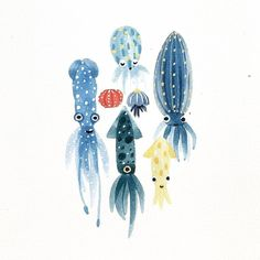 Squid Octopus Art Print Colorful Fish Ocean Sea Life Inspiration Watercolor Wall Art Cute Serene Underwater Landscape Wall Decor Marine Tropical Theme Child's Room Home Decor 8 x 10 Inch Watercolor Walls, Watercolor Animals, Watercolor Paintings, Watercolor Illustration, Art Paintings, Watercolour, Sea Creatures Drawing, Creature Drawings, Octopus Art