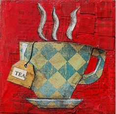 To a tea in a canvas of red with a tiled tea cup :)