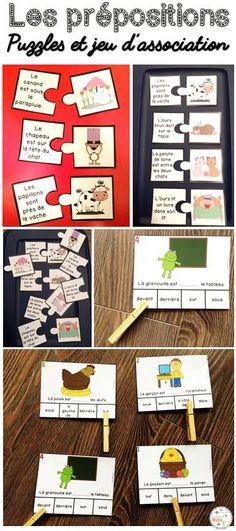Les prépositions de lieu - 2 jeux amusants pour pratiquer ses prépositions. Ce casse-tête et ce jeu d'association sont parfaits pour les centres de littératie vu que les élèves peuvent jouer de façon autonome.