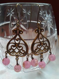 Antiqued Brass Earrings with Pink Beads ($22)