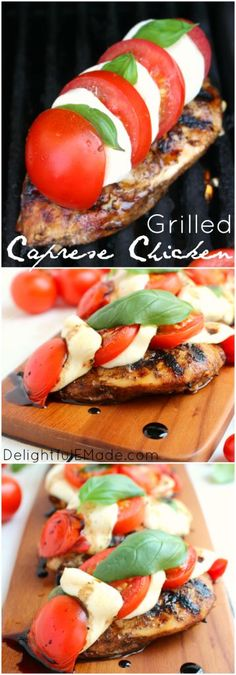 One seriously amazing grilled chicken recipe!  A fantastic caprese chicken recipe that is topped with fresh tomatoes, basil and mozzarella and grilled to perfection.  Done and on the table in 25 minutes!  Perfecto!!
