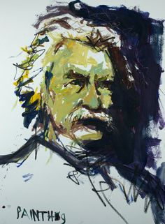 Original Abstract Mark Twain Painting Mixed Media by painthog