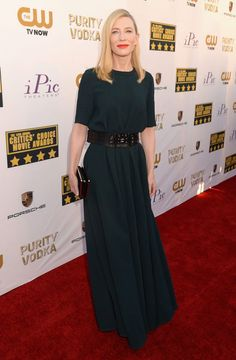 Cate Blanchett, in Lanvin, attends the19th Annual Critics' Choice Movie Awards at Barker Hangar on January 16, 2014 in Santa Monica, California. (Photo by Kevin Mazur/WireImage)