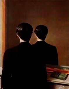 재현금지.르네 마그리트.   마그리트의 초현실주의 작품이다. 거울에 비친 남자는 자신의 모습을 보아야 정상이지만 절대 볼 수 없는 뒷모습을 보고 있다. 그래서 남자의 시선은 철저히 감추어 진다. 보아야 하는 것을 보지 않고 볼 수 없는 것을 보려하는 사람. 감추어진 시선의 일방성.