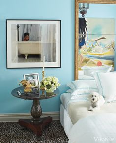 Mirror to reflect artwork behind bed makes a great headboard -  Brian McCarthy