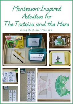 Montessori-Inspired Activities for the Tortoise and the Hare - links to free printables and ideas using resources for a literature-based unit study and/or music appreciation