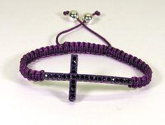 Macrame Bracelet Purple with Purple Crystal Cross HCLTreasures - Jewelry on ArtFire