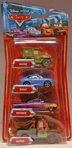 Disney / Pixar CARS Movie Exclusive 155 Die Cast 4Pack Sarge, Ramone, Mater Sally by Mattel Toys. $39.99. Vehicles feature classic style painted (non-lenticular) eyes favored by Cars collectors. Help your child keep the revvedup adventures rolling with this Disney/Pixar Cars DieCast Cars set. These toys are big on detail and personality and perfect for little hands. Disney/Pixar Cars DieCast Cars come in a pack of four and include your childs favorite characters fr...