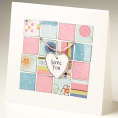 Mosaic-Style Card - Cut squares from coordinating patterned papers & lay them out in a mosaic pattern on a card. Hang a charm from beaded thread, then loop the thread through holes in the card front.