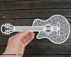 Guitar paper cut svg / dxf / eps / files, and pdf / png printable templates for hand cutting. Digital download. Small commercial use ok
