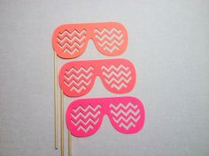 3 Ombre Chevron Shade Photo Props Photobooth by CleverMarten
