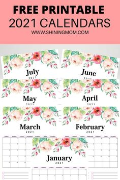 Click to download this beautiful monthly 2021 calendar in gorgeous florals! Great to use for planning schedules and goals.