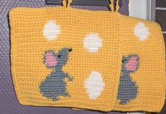 """Handmade by me in fine cotton yarn. The mouse is on the front side. The back side is yellow with white """"holes"""" in the cheese. Comes from a smoke and pet free home. Christmas Owls, Christmas Decorations, Crochet Potholders, Pot Holders, Kitchen Decor, Indie, Kids Rugs, Cheese, Gift Ideas"""