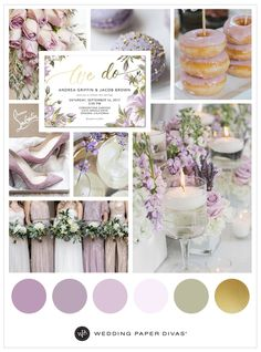 pretty lilac and gold wedding theme