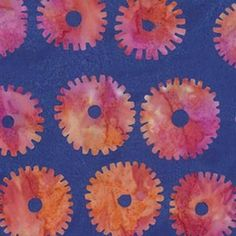 Fabric  Saw Circles - Royal,  BKKF001.0ROYA, Artisan Collection from Kaffee Fassett for Free Spirit. - continuous yardage