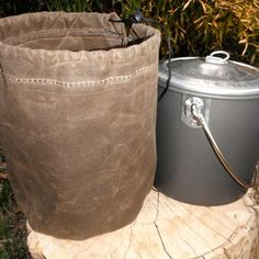 Custom Sewn Canvas Pot, Bottle, Stove Covers for Backpacking, Hiking, Bush crafting and Survival. Keep your pack clean.