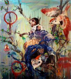 "Hung Liu- ""Leaf Picker III"" 2010, mixed media on panel, 47.5 x 41"""