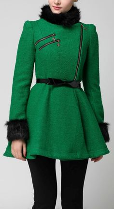 Fake Fur Embellished Ruffle Coat dresslily.com