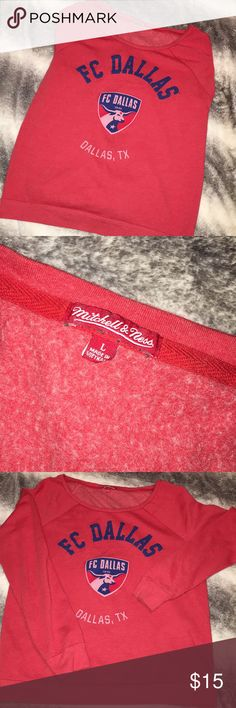 FC Dallas Pullover Size large, a little over sized. The neck is wide and can hang over the shoulder if a medium or small wore this. It's practically brand new, never worn. Great for any soccer fan. Tops Sweatshirts & Hoodies