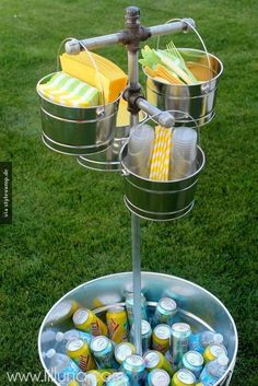 Add a sail? - buckets and aluminum bin from hobby lobby with dollar store napkins and straws backyard bbq party, cookout and baby shower ideas Bbq Party, Snacks Für Party, Yard Party, Patio Party Ideas, Beach Party, Party Drinks, Picnic Ideas, Party Fun, Deck Bbq Ideas