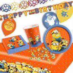 RZOnlinehandel - Minions Mottopartyset 46-teilig für bis zu 8 Kinder Party Set, Minions, Birthday Cake, Desserts, Food, Stocking Stuffers, Celebration, Invitations, Kids