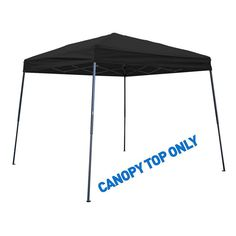 Trademark Innovations 8 ft. x 8 ft. Black Square Replacement Canopy Gazebo Top for 10 ft. Slant Leg Canopy