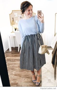 💛 I really love this blue linen sweater paired with this navy striped skirt! Everything in this outfit is linked here ➡️… Jw Fashion, Modest Fashion, Latest Fashion For Women, Fashion Outfits, Apostolic Fashion, Fashion Black, Fitness Fashion, Fashion News, Navy Striped Skirts