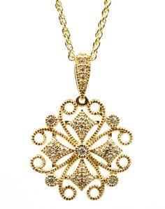 Lacy Diamond Medallion Necklace by Allison Kaufman - Wilsonville Diamond