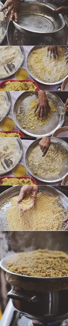 How to make MAFTOUL {couscous} from scratch by hand rolling bulgur with wheat flour