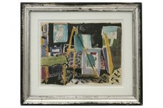 Watercolor and ink painting of artist's studio by Michel Debieve (1931- ) framed in antique silver gilt wood frame. France, 1956