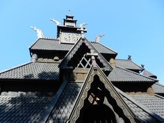 stave church in Norway dating from 1200- moved to the folk museum in Oslo, Norway