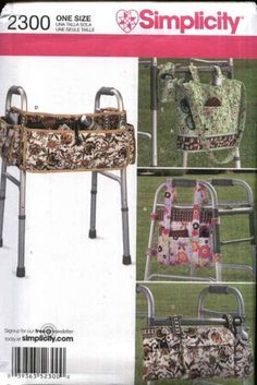 Simplicity Sewing Pattern 2300 Walker Accessories Bags Totes Phone Carrier Organizer Assistance