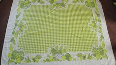 1960s Vintage Table Cloth Lime Green Vegetables by CraftySara, $28.00