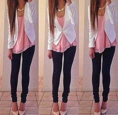 Cute skinny jean with pink top and white blazer outfit.