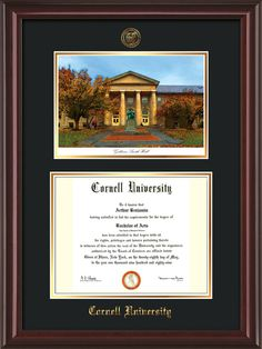 Cornell U Diploma Frame-Cherry Reverse-Goldwin Photo-Black on Gold mat – Professional Framing Company Unique Graduation Gifts, Embossed Seal, University Diploma, Diploma Frame, Bachelor Of Arts, Gold Lips, Cornell University, Photo Black, Library Of Congress