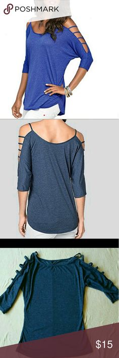 NWOT ..Sexy Shoulder top Never worn.  Size Medium but fits more for an xs.  Dark blue.  Very cute top.  Runs a little small.  I wanted a bit more baggier so bought another one.  ** Price Firm,  no offers accepted on this item.  ** Tops