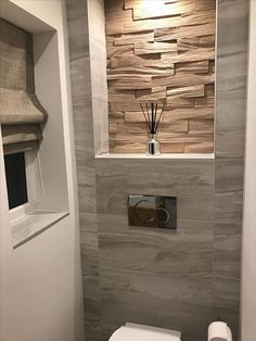 Porcelanosa Wood Wall Pure Tiles Mixed With B&q Tiles Inside B&q Small Bathroom Ideas - Best Home Decor Ideas Bathroom Design Luxury, Bathroom Layout, Modern Bathroom Design, Bathroom Ideas, Small Toilet Design, Small Toilet Room, Small Bathroom Inspiration, Bathroom Renovations, Amazing Bathrooms