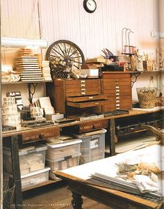 Creative Work Space - Wendy Addison's studio - Love the wood file.