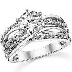 rings  Model R11-109153 round brilliant diamond   Round Moissanite & Diamond Multi-Band Style Engagement Ring [eng107 ...