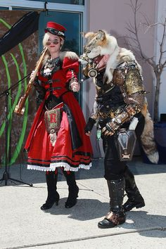 Steampunk World's Fair 2012.  WAY COOL Red Riding Hood and her Wolf.