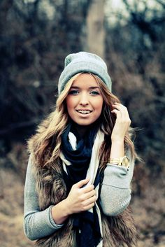 fur vest + slouchy gray beanie. i'm drawn to fur vests but i'm never sure if they are a good idea or not. maybe with the right look i'll make the leap.